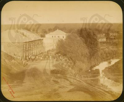 Q.164 - 14  г.Козельск. Калужская губерния. Вид части города со зданием Ремесленного училища. Снимок Гольдберга, май 1887  года.