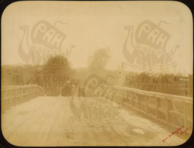Q.164 - 10   г.Козельск. Калужская губерния. Въезд в город через деревянный мост от дороги на монастырь. Снимок Гольдберга, май 1887  года.